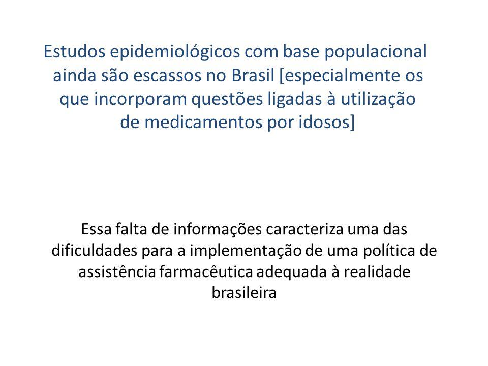 Estudos epidemiológicos com base populacional ainda são escassos no Brasil [especialmente os que incorporam questões ligadas à utilização de medicamentos por idosos]